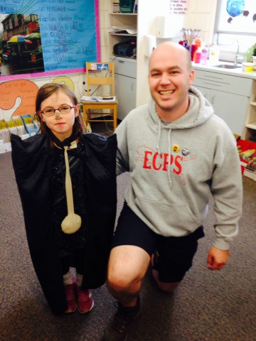 "On ""dress as your favourite book character day,"" this student came dressed as the Nightclock."