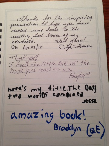 A Queen Elizabeth School student suggests a title for the Button Hill sequel...